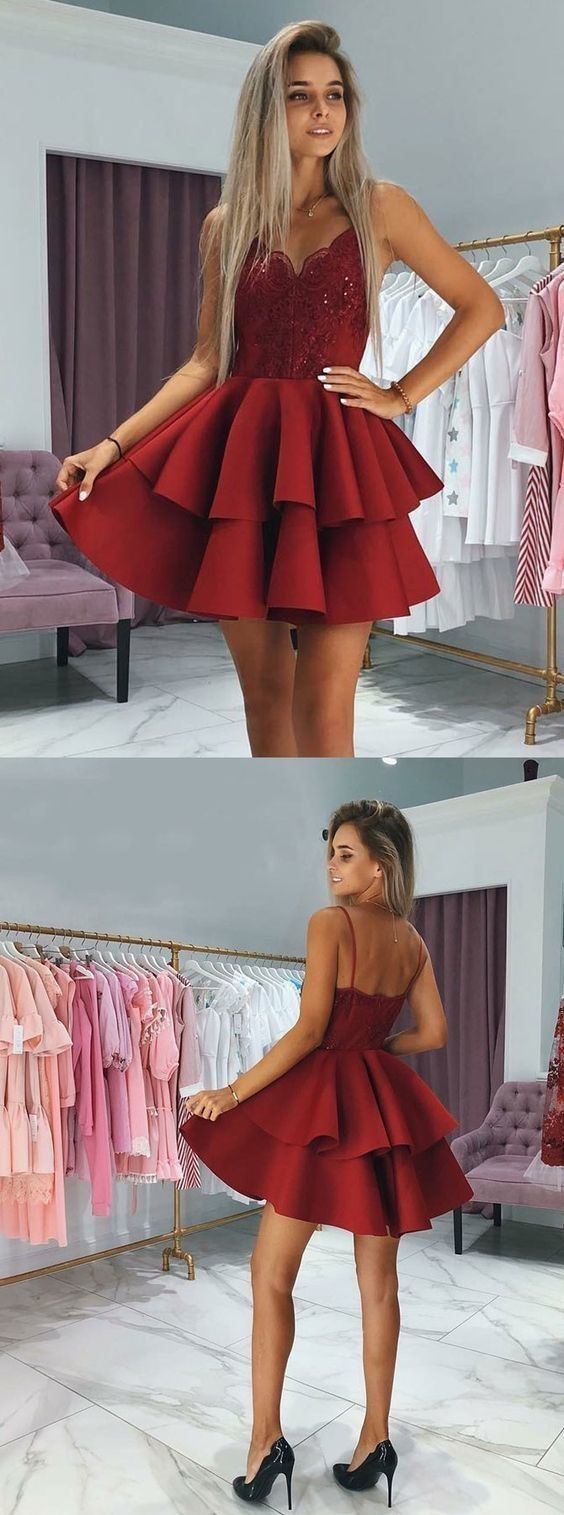 Aline spaghetti straps short homecoming dress with appliques k
