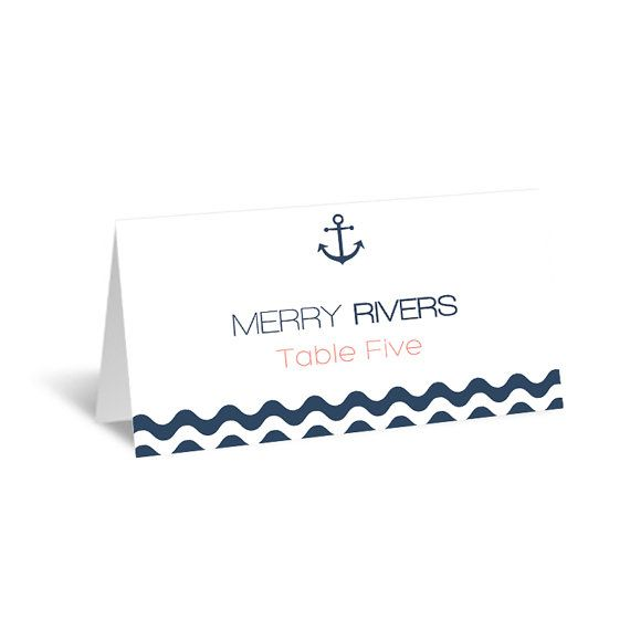 Nautical Wedding Place Card Template, Printable Place Card, Anchor