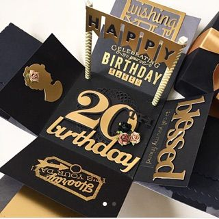 Happy birthday explosion box card in teal and black 20th birthday 20th birthday explosion box card in gold and black bookmarktalkfo Images