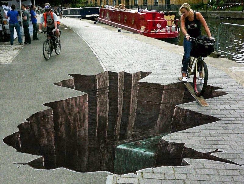 תוצאת תמונה עבור optical illusion graffiti hole