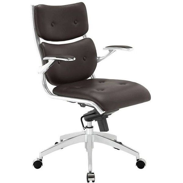 Modway Furniture Push Mid Back Office Chair White By ($496) ❤ liked on Polyvore featuring home, furniture, chairs, office chairs, white padded chairs, white chair, white faux leather chair, padded office chair and faux leather chairs