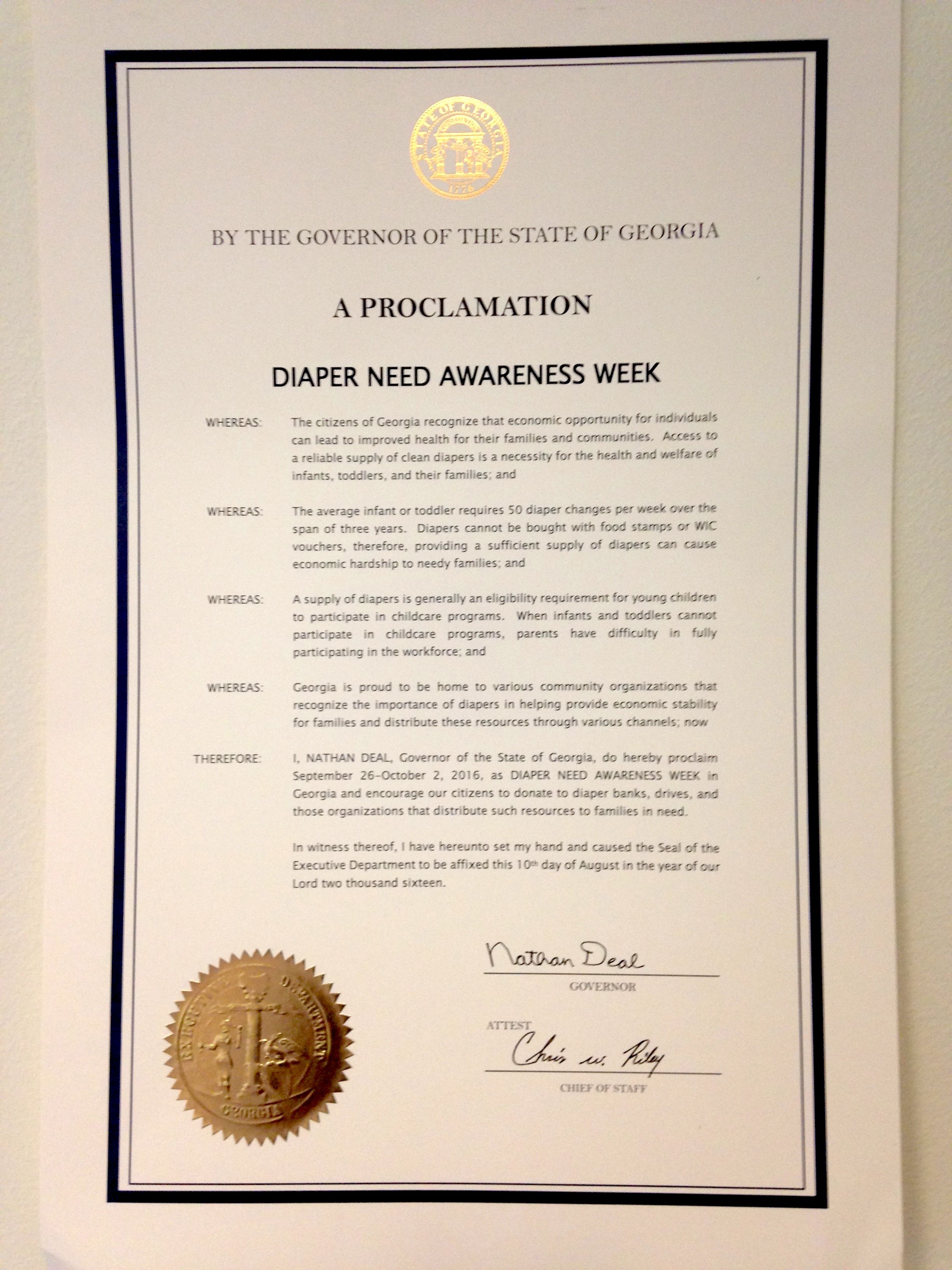 Georgia Governor Nathan Deal's proclamation recognizing Diaper Need Awareness Week (Sept. 26 - Oct. 2, 2016) #DiaperNeed www.diaperneed.org
