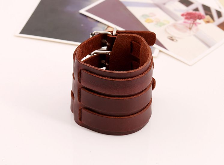 Pk0411 punk leather jewelry black brown 3 straps wide leather mens bracelet sale stock