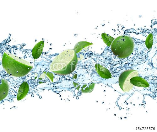 Limes and Splashing water over white
