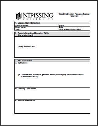 Elementary Lesson Plan Template #1 wwwlessonplans4teachers - elementary lesson plan template
