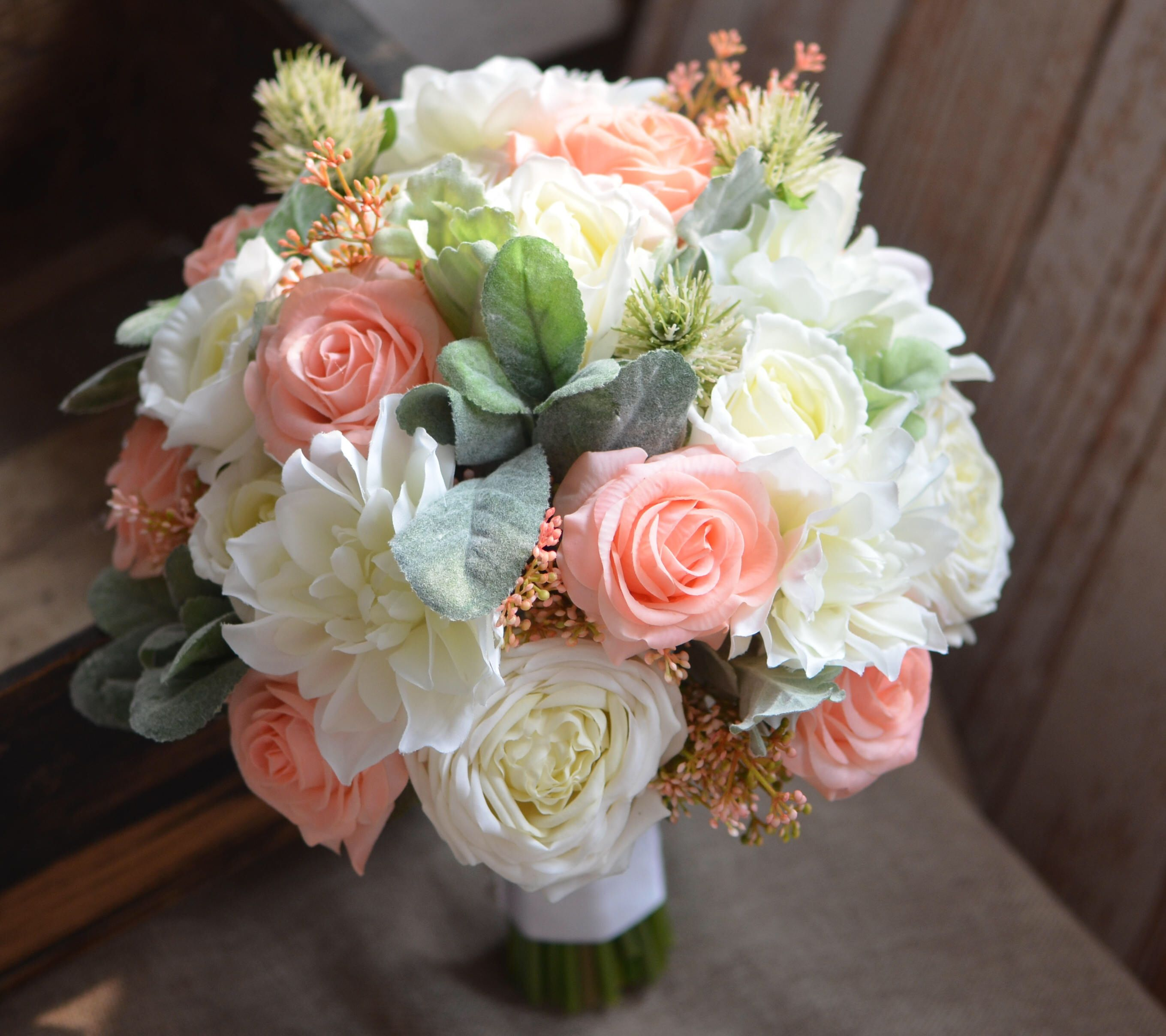 Peach Ivory Rustic Bouquets Real Touch Roses Lambs Ears