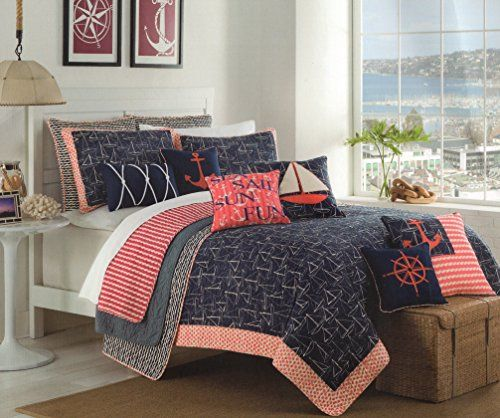 Max Studio Nautical Design Bedspread 3pc Full/Queen Quilt Set Coverlet  Cotton Reversible Quilted Bedding Sail Away, Ship Boat Navy Blue Coral Red  Ivory