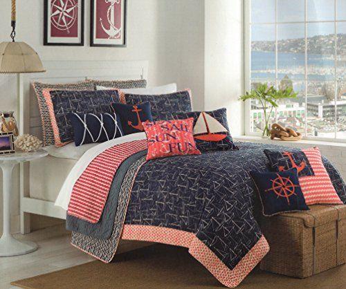 Max Studio Nautical Design Bedspread 3pc Full/Queen Quilt Set ... : full queen quilts - Adamdwight.com