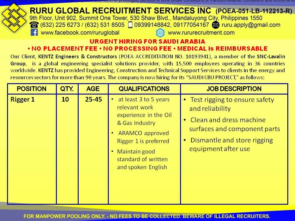 Kentz Saudi Arabia Hiring For Rigger  Rigger   To  Years Old