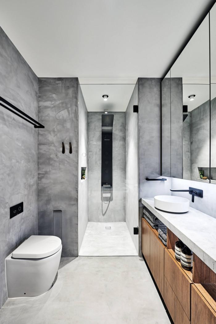 Bachelor Pad Townhouse Home Snapshots In 2020 Industrial Modern Bathroom Gray Bathroom Decor Grey Modern Bathrooms