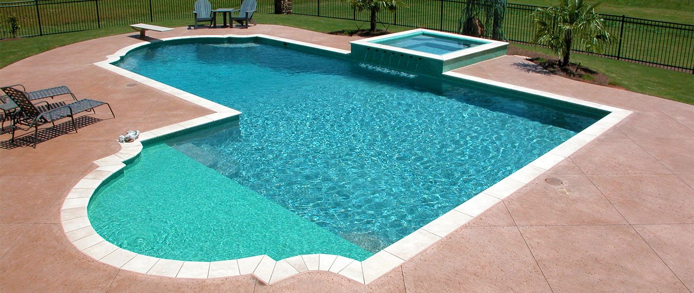L shaped pool with tanning shelf and spa by boscoe 39 s for Sports pool designs