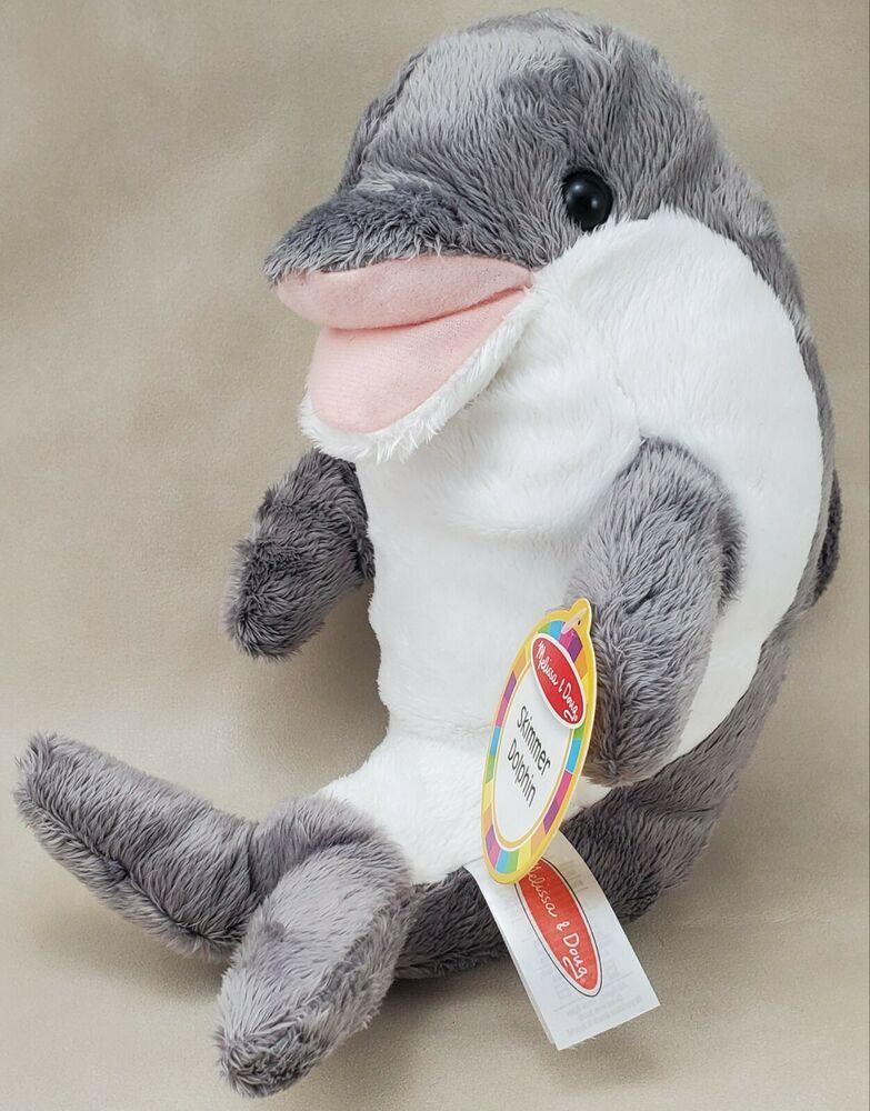 "Melissa and Doug 12/"" Gray /& White Skimmer Plush Dolphin Stuffed Toy"