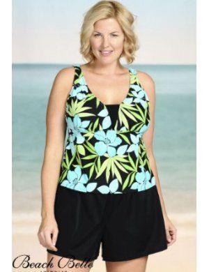 0d6444f096c3b Beach Belle Botanica Plus Size V-Insert Shortini Swimsuit | Beach Belle  Swimwear