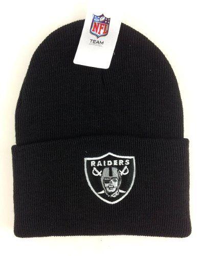 35f582d8b33 NFL Oakland Raiders Black Cuffed Beanie Hat by Reebok.  9.55. Raiders Cap.  Save 52%!