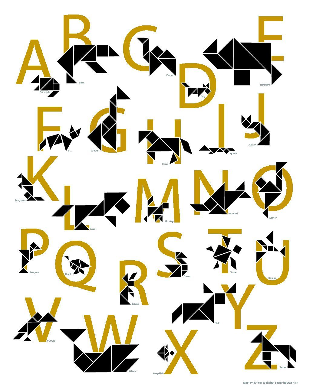 Free Tangram Animal Alphabet Poster