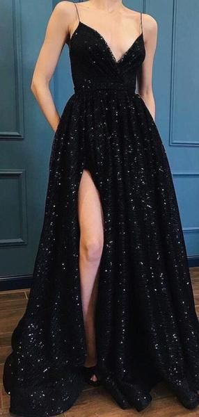 Popular Spaghetti Straps V Neck Side Slit A Line Black Sequin Long Prom Dresses, MD440
