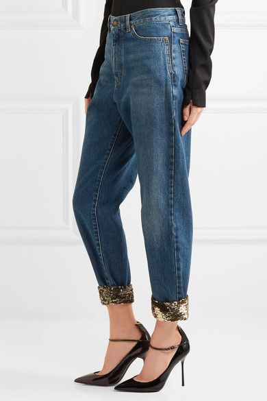 high waisted boyfriend jeans - Blue Saint Laurent 1WWWk3WyFD