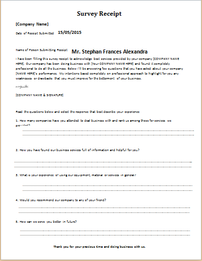 Survey receipt download at httpwordexceltemplatessurvey tow truck receipt template survey receipt template for word saigontimesfo