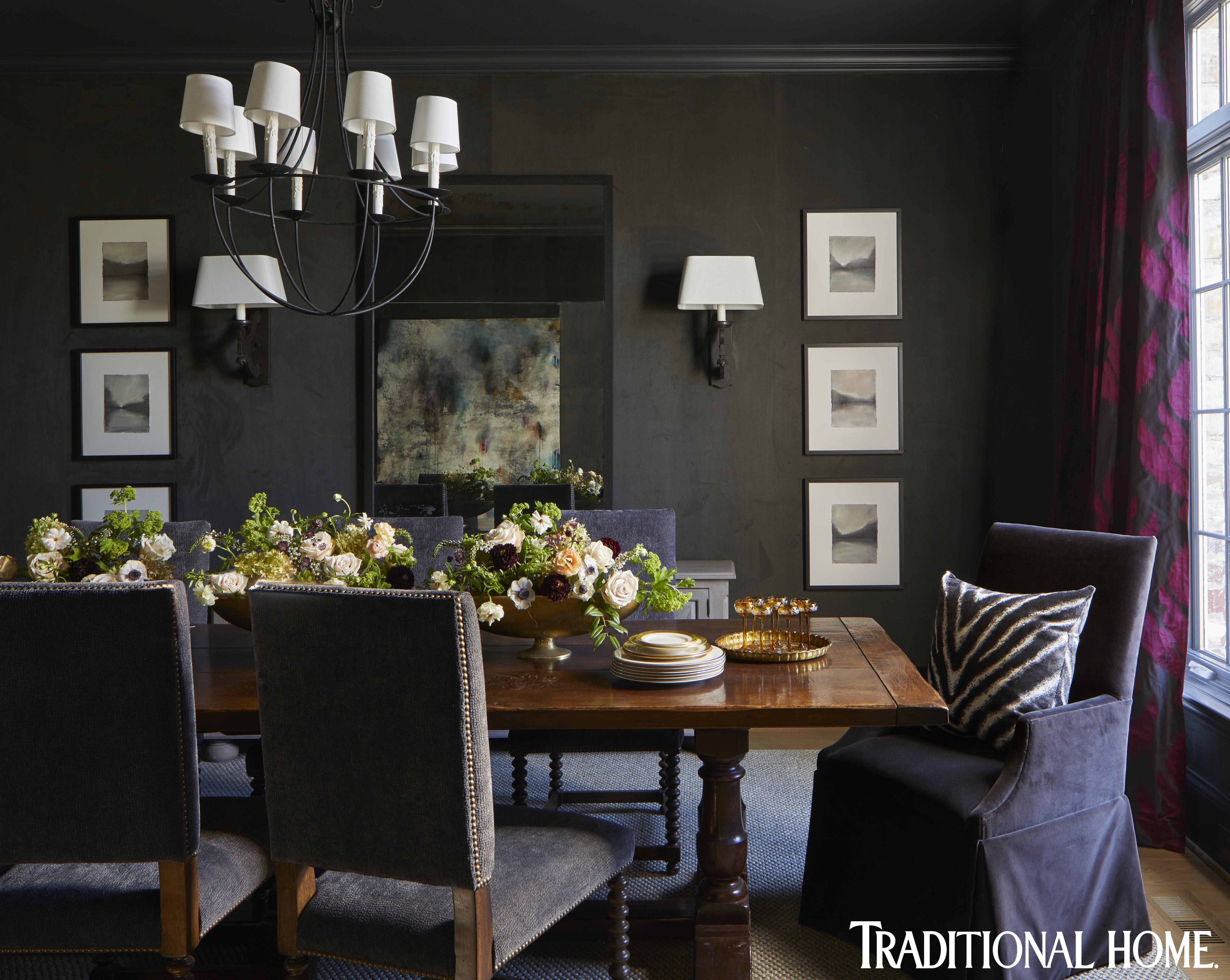 Sumptuous Fabrics Weave A Warm Family Home In 2020 Dark Dining Room Warm Dining Room Dining Room Paint Colors