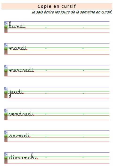 Apprendre A Ecrire Les Jours De La Semaine Alphabet Cursif Ecrire En Cursive Apprendre A Ecrire