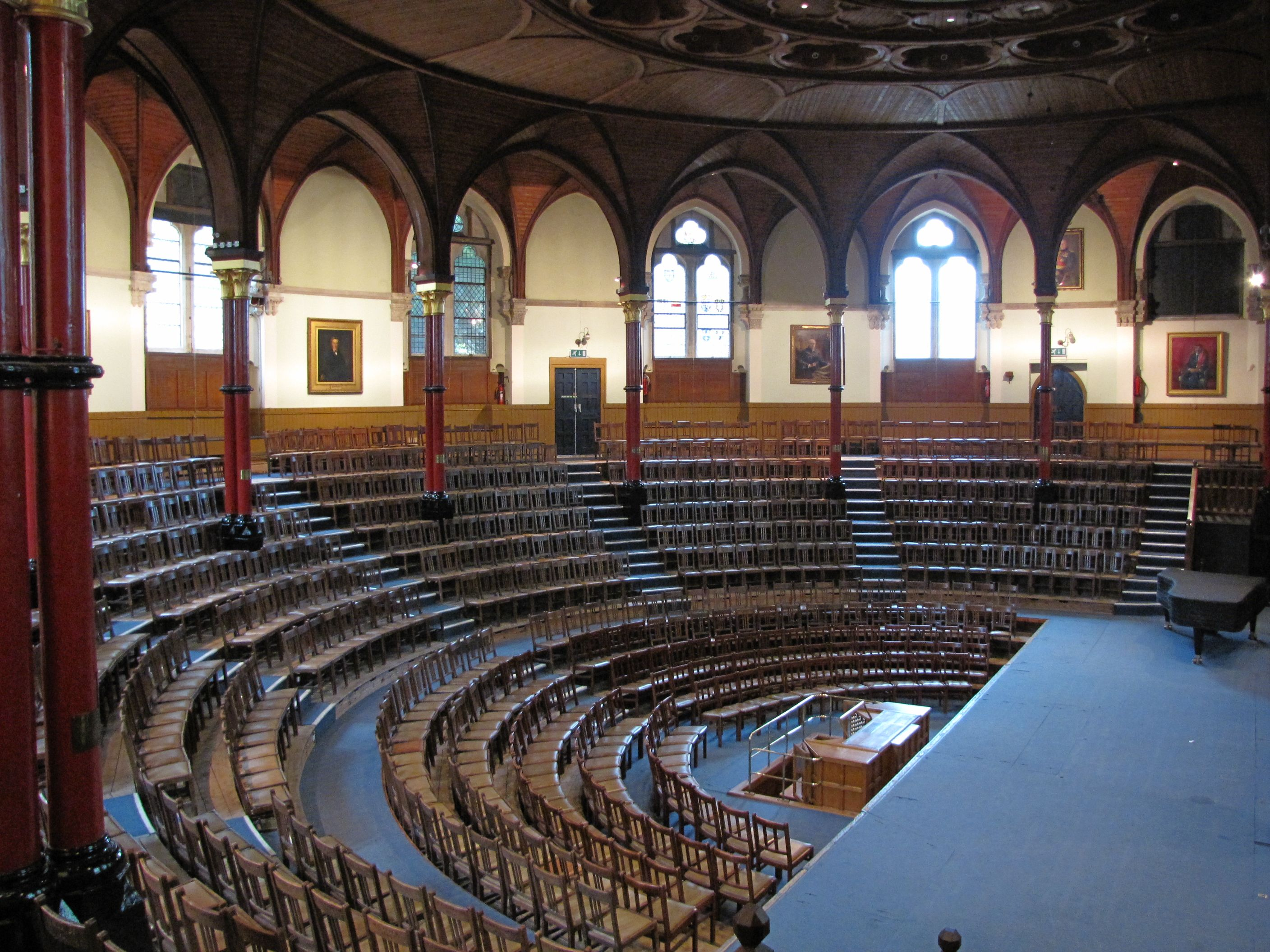 The Speech Room of Harrow School, built in 1871. Boys assemble here each Monday morning.