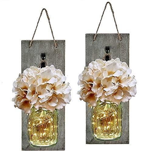 Photo of HABOM Rustic Mason Jar Wall Decor Sconces – Decorative Home Lighted Country House Hanging with LED Fairy Strip Lights and Flowers Hydrangea Farmhouse Sconce Jars (Set of 2) – Rustic Champagne