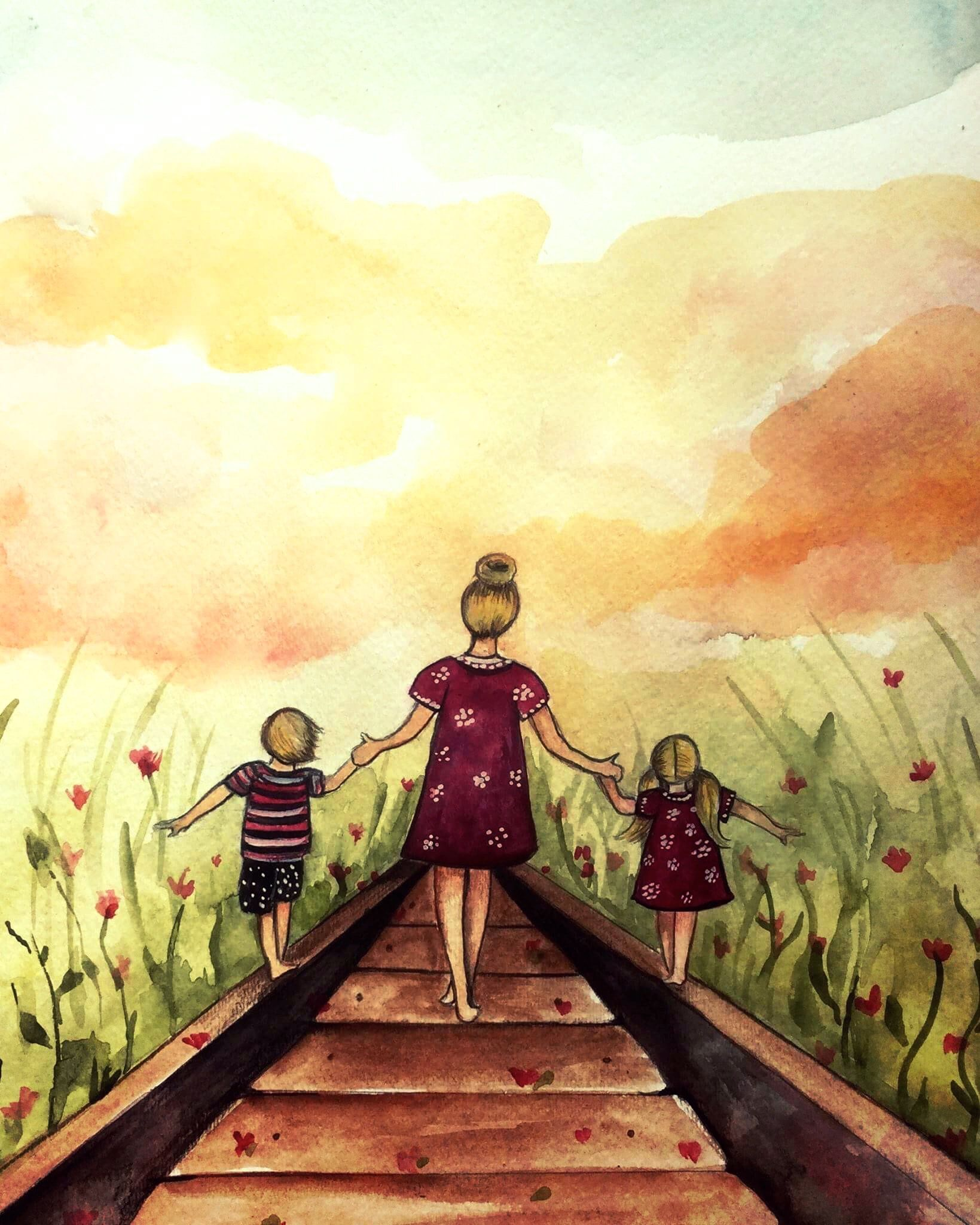 "Mother and two children ""our path"" art print, gift idea mother's day by claudiatremblay on Etsy"