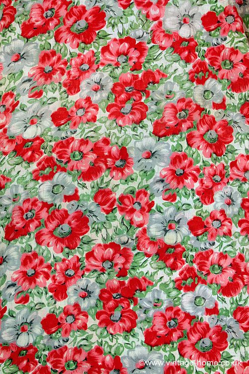 Www Vintage Home Co Uk Pretty French 1950s Poppy Fabric