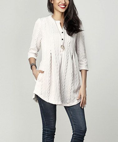 b5f4bfdf025 Another great find on  zulily! Cream Cable Knit Notch Neck Tunic by Reborn  Collection