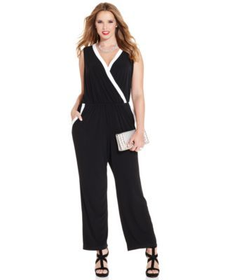 491d08d11b7 NY Collection Plus Size Sleeveless Tuxedo Jumpsuit