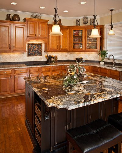 This Kitchen Was Updated With A Contrasting Custom Island Two Types Of Granite Counters Pendant Ligh Trendy Kitchen Backsplash Kitchen Remodel Kitchen Design