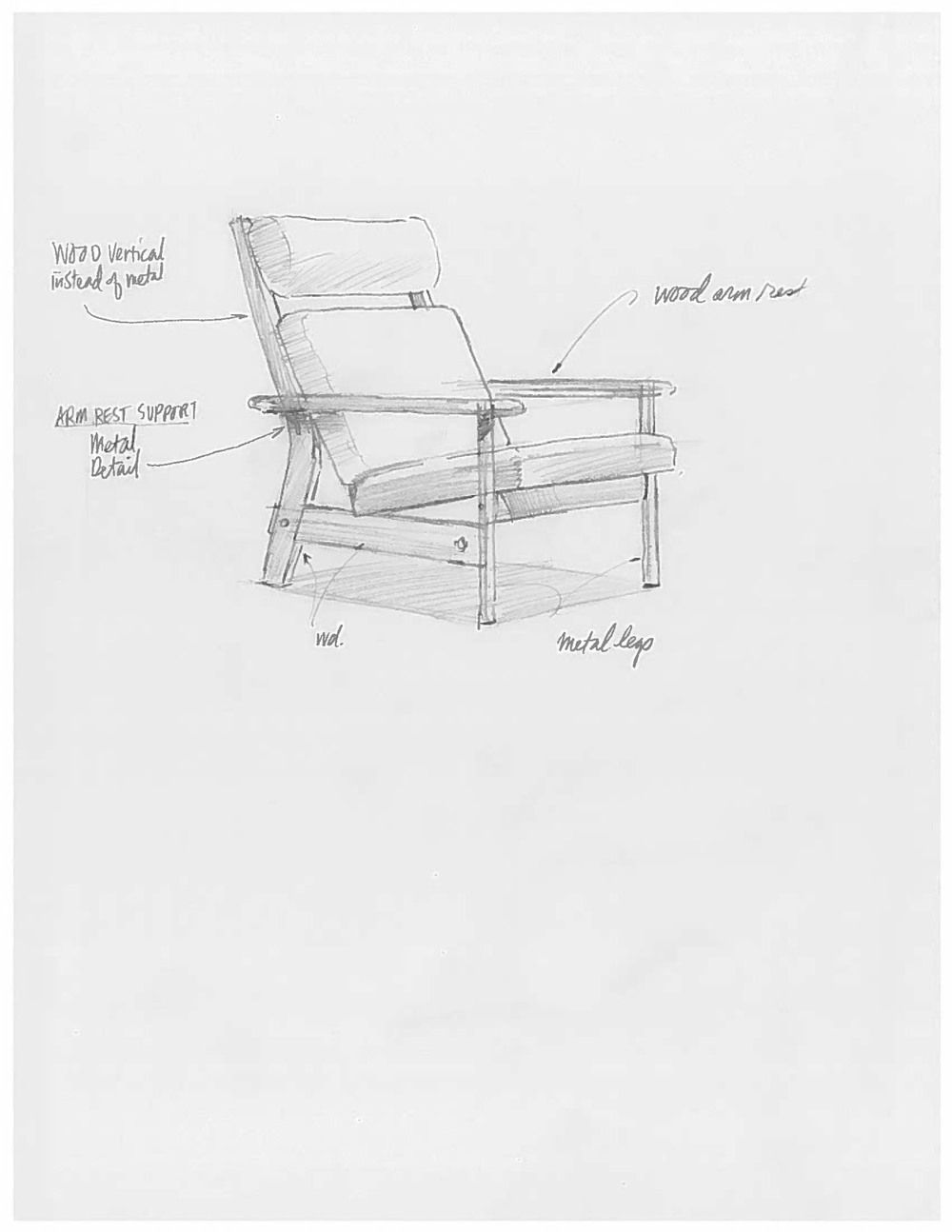 Quick Sketch For One Of 7 Proposed Lounge Chair Designs Kitchen Chair Makeover Reupholster Chair Diy Outdoor Wicker Chairs