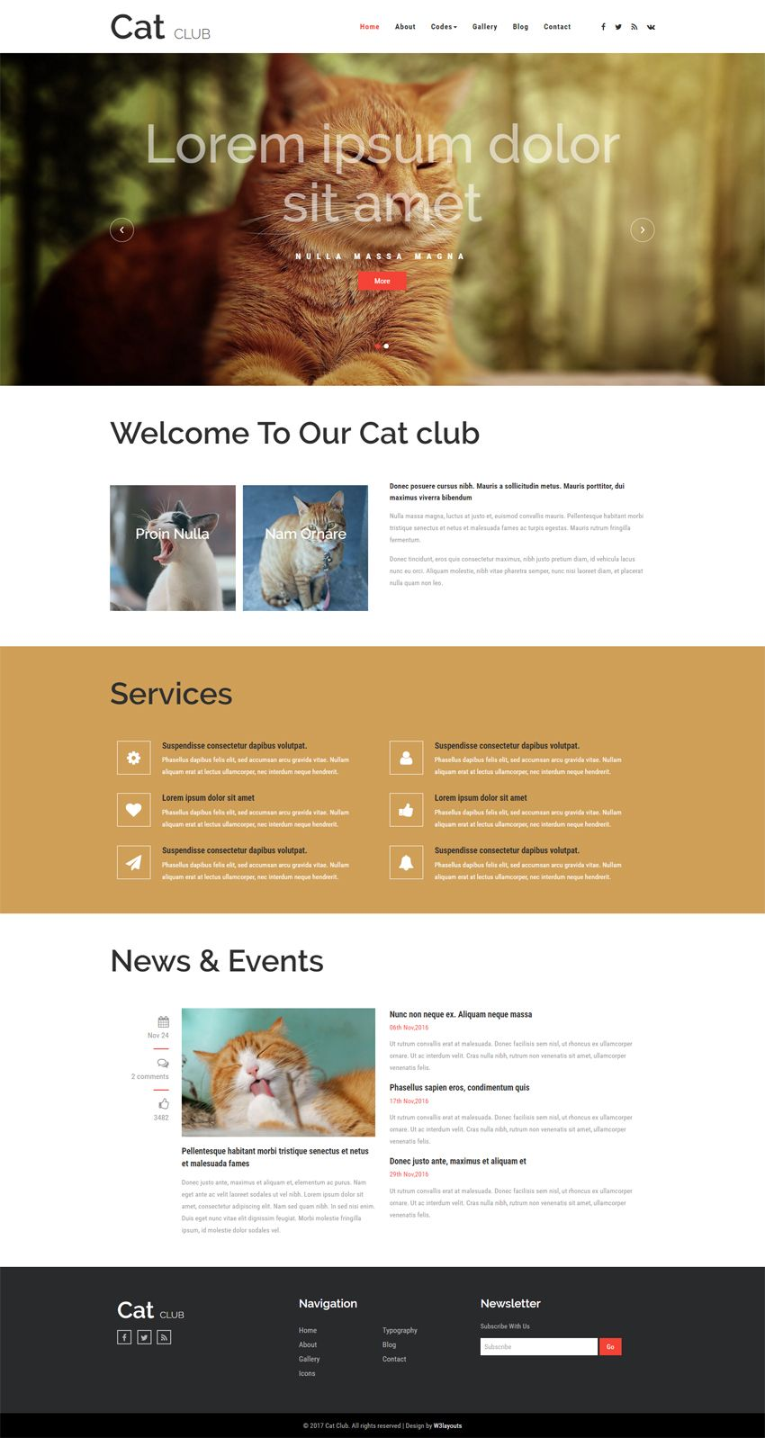 Bootstrap Website Templates Cat Club An Animals And Pets Bootstrap Responsive Web Template