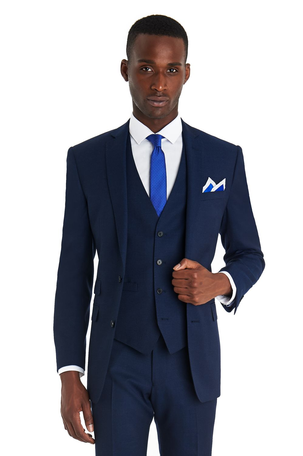 This French Connection slim fit bright blue textured 3 piece suit ...