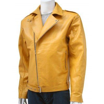 Energetic Biker Style Men Leather Biker Yellow Jacket