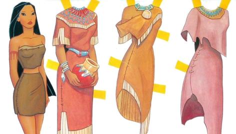Princesas Disney: Muñeca de papel recortable de Pocahontas