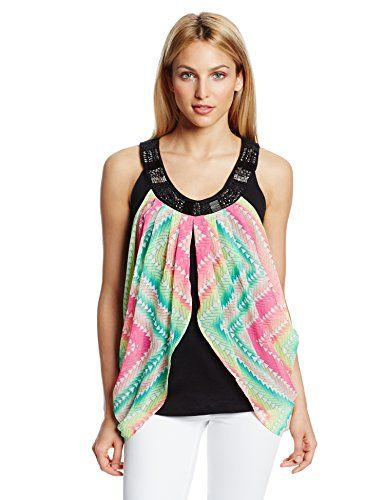 NY Collection Women's Petite Printed Sleeveless Twofer Flyway Blouse - Listing price: $49.00 Now: $34.30
