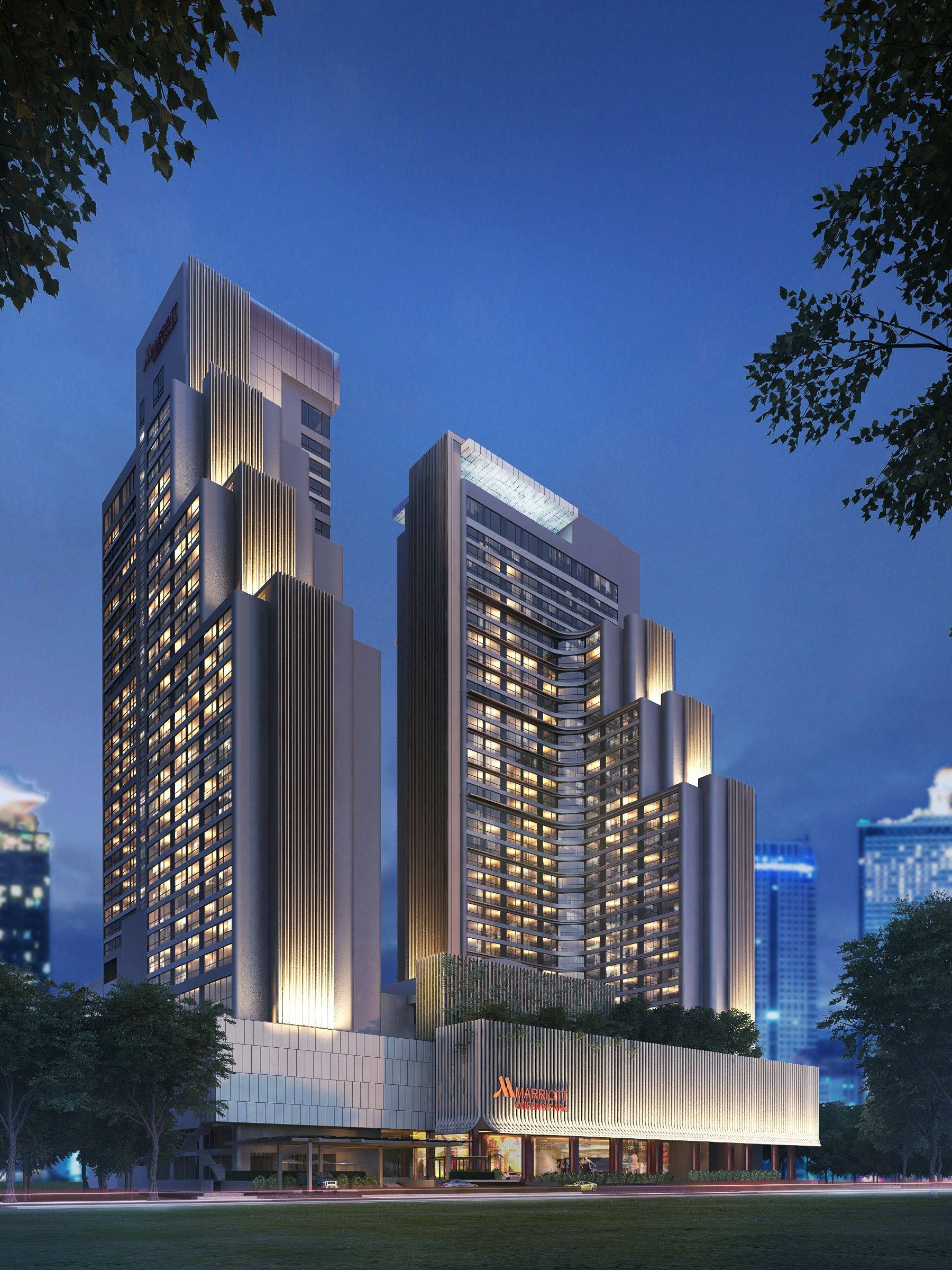 Peoject bangkok marriott hotel queen s park ex for Hotel design facade