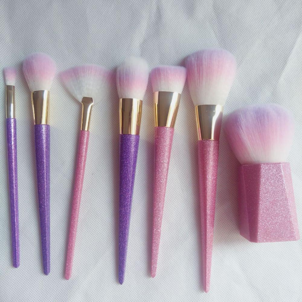 7 Pcs/Set Glitter Purple Pro Makeup Brush Kits For Blusher