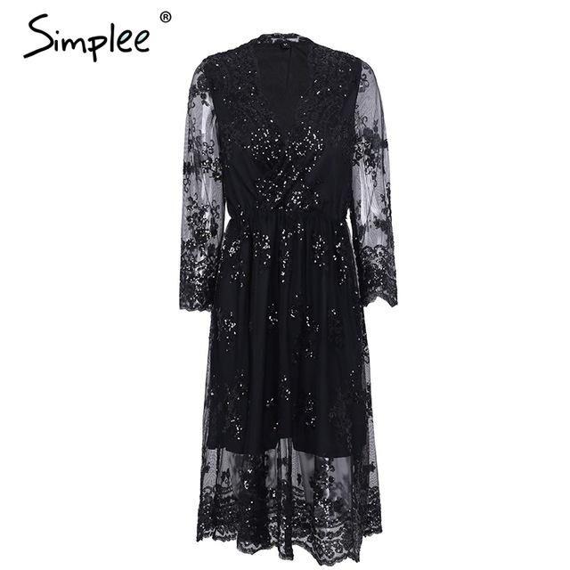 Simplee V neck long sleeve sequin party dresses women Sexy mesh streetwear  casual midi dress female 2017 autumn dress vestido  mididress 9948dd8b6