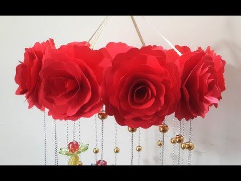 Diy Wind Chime With Beautiful Paper Roses Wall Hanging For