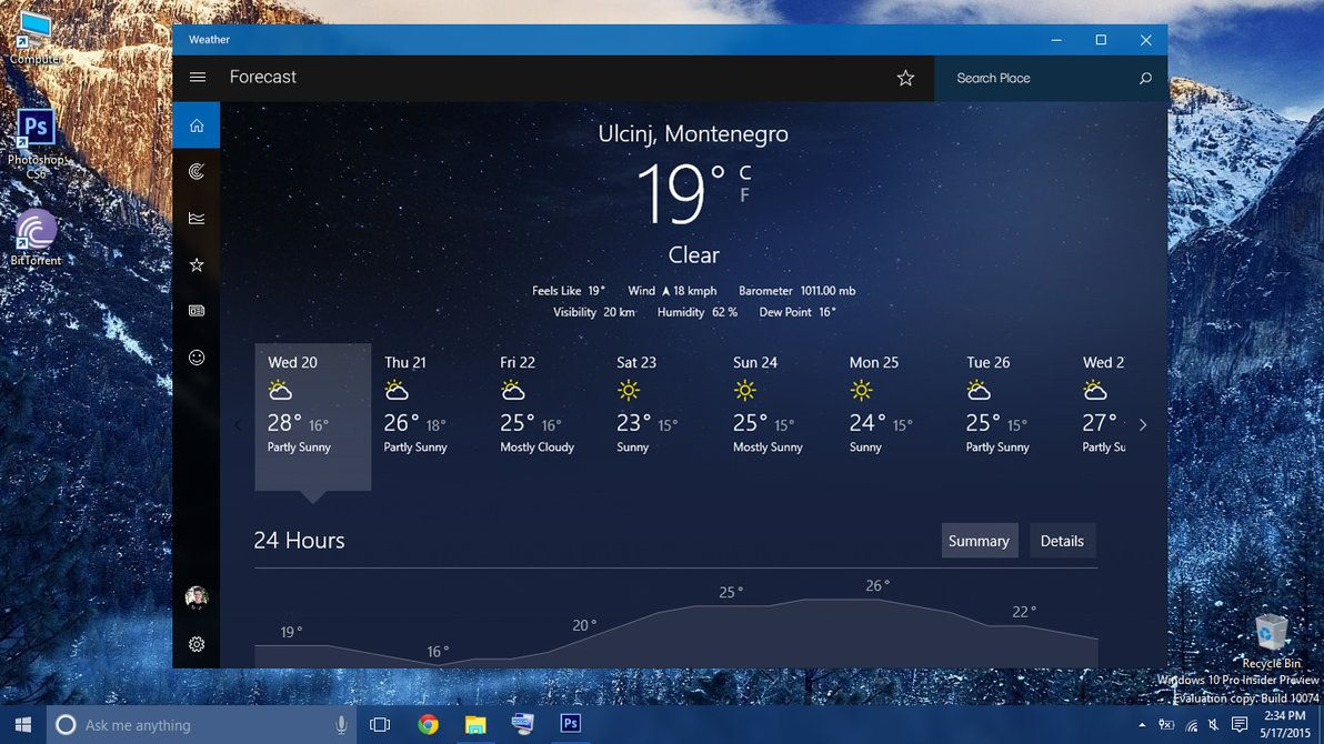 Windwos 10 Redesigned Weather App with Dark Theme by armend07