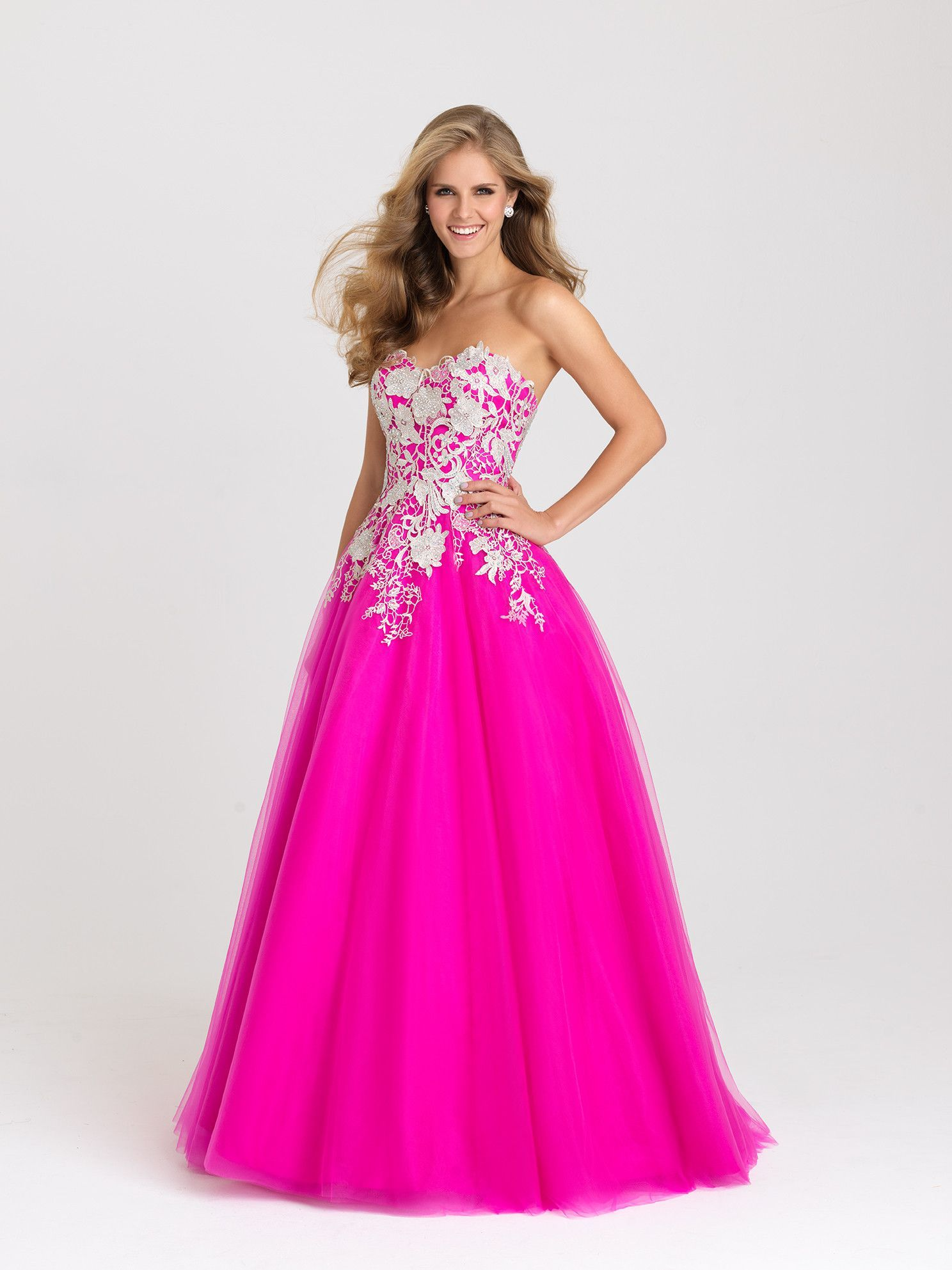 Madison James 16-434 Lace Applique Tulle Ballgown Prom Dress ...