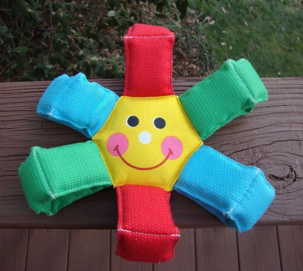 Vintage Fisher Price Cloth Fun Flower Smiley Face Squeaky