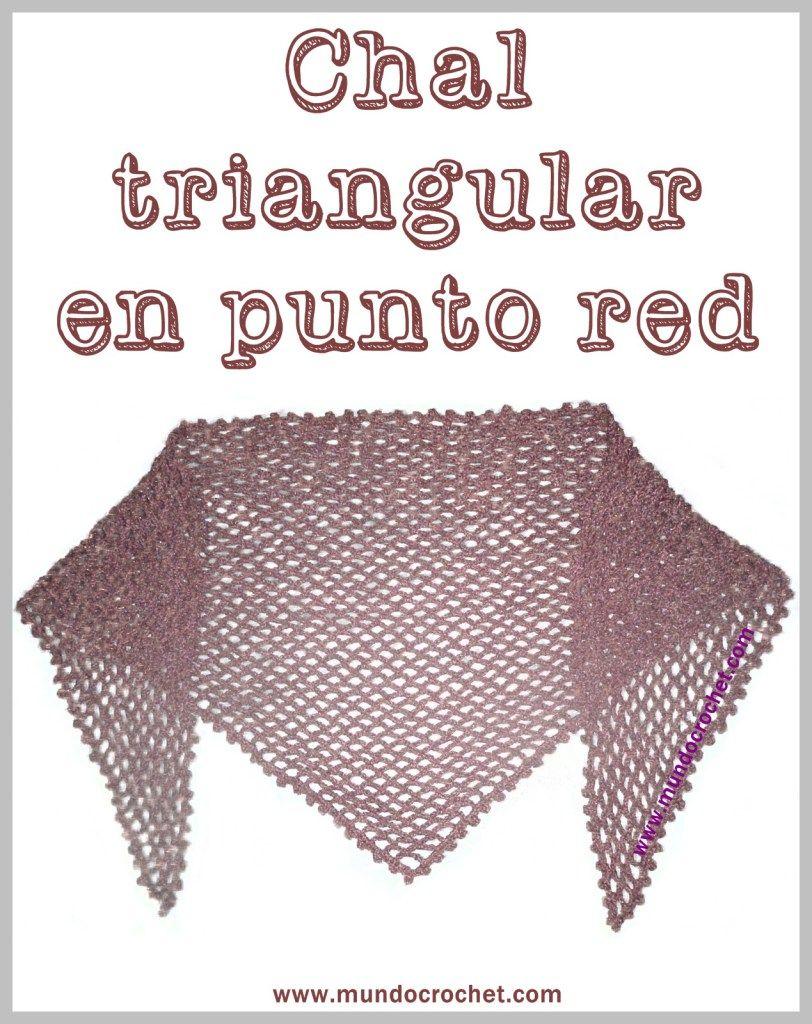 Patron chal triangular en punto red a crochet o ganchillo   Adornos ...