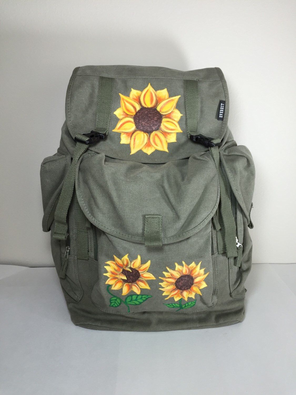 1e7a894098b8 Sunflower Everest Canvas Backpack Hand Painted by Nichole Elder ...