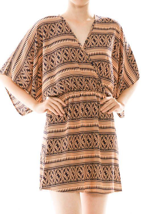 Print Surplice Kimono Dress