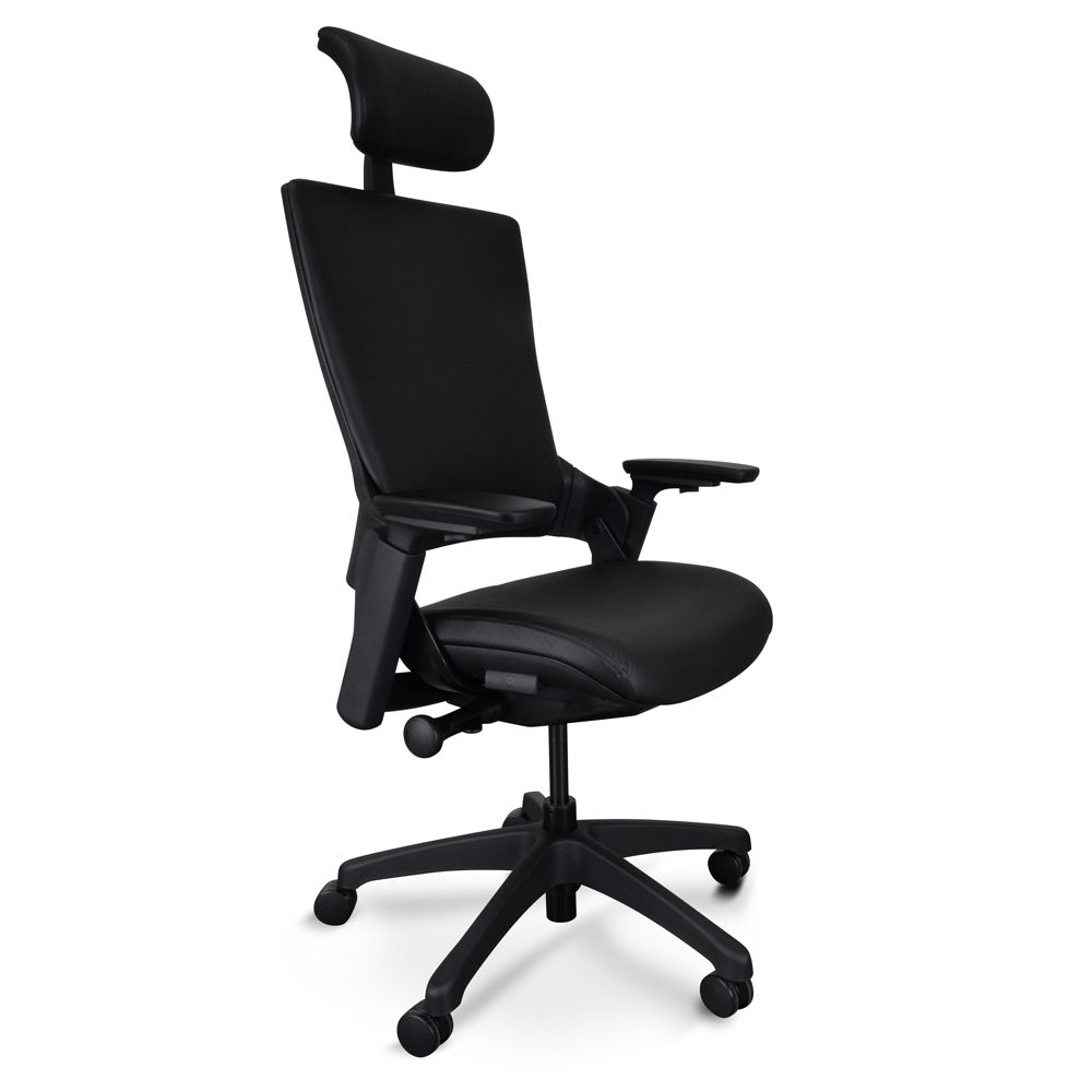 Atlas Ergonomic Leather Office Chair With Head Rest Black Leather Office Chair Office Chair Chair