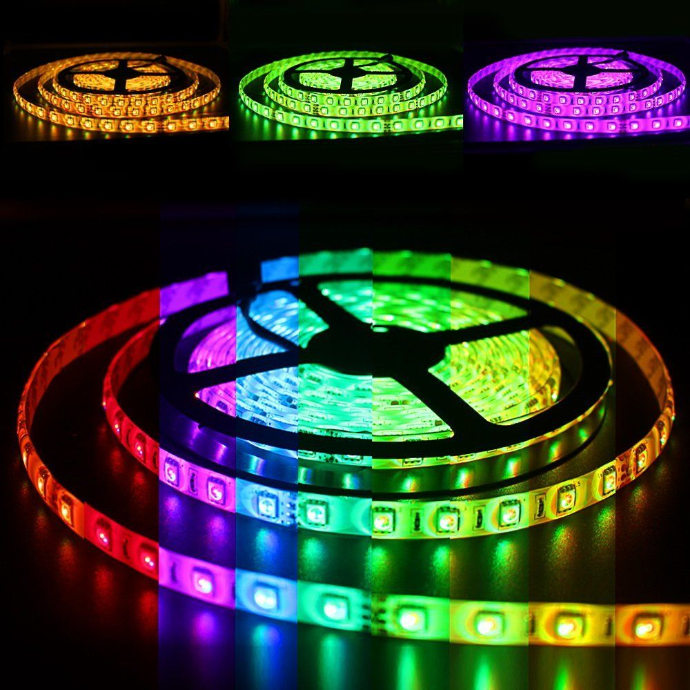 Solarphy 32 8ft 10m Rgb Led Strip Light Bluetooth Smartphone App Controlled 5050 Led Light Strip 600 Leds Waterproof Rgb Multicolored Led Lights Kit With 24v Led Strip Lighting Strip Lighting Led Light Strips