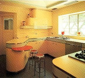 Art deco kitchen with both the 39 streamlined 39 look of the for Art deco style kitchen units